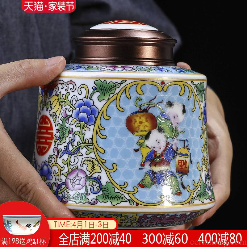 The tea pot ceramic seal storage POTS store receives half jins of small tea box of large household tea urn