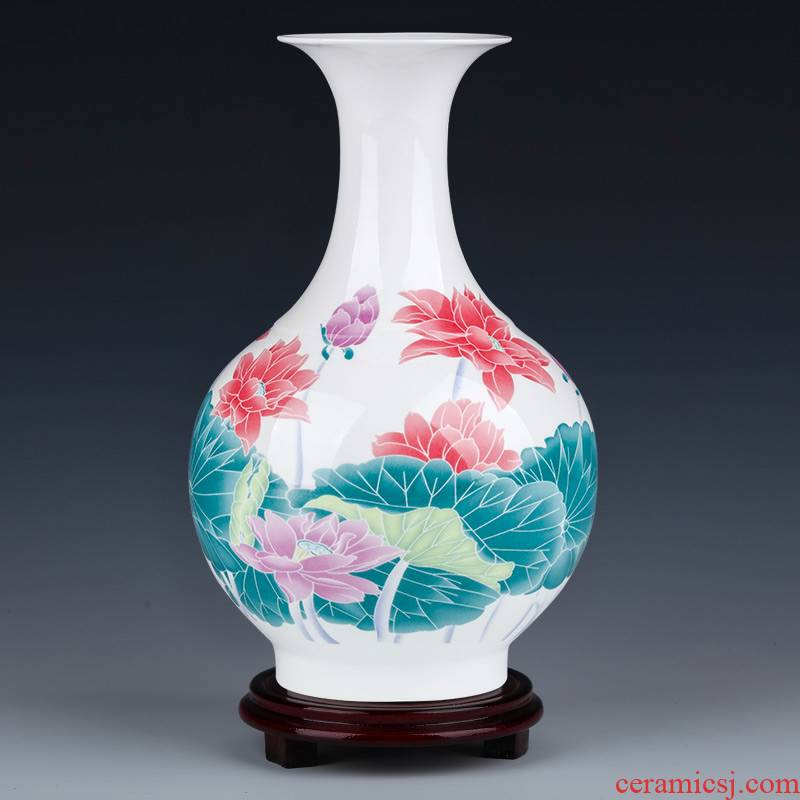 Under the jingdezhen ceramics glaze colorful lotus flower bottle of flower arranging home sitting room decorates porch TV ark, furnishing articles