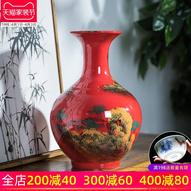 Jingdezhen ceramics hand draw freehand brushwork in traditional Chinese red vase Chinese flower arranging rich ancient frame sitting room adornment is placed