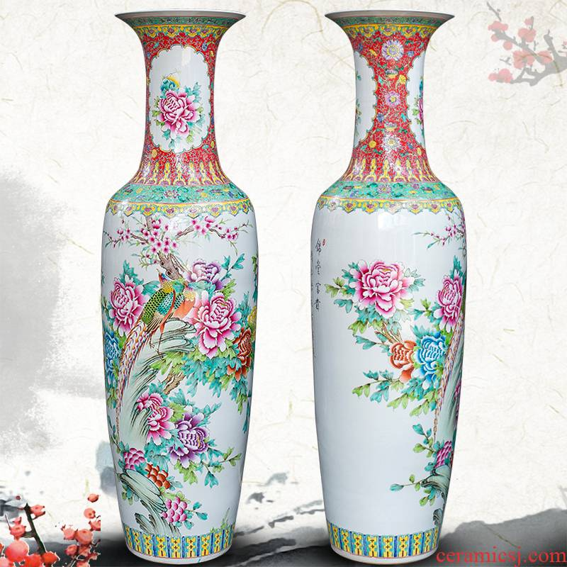Archaize of jingdezhen ceramics powder enamel of large vases, classical Chinese style living room decorations beside the TV ark, furnishing articles
