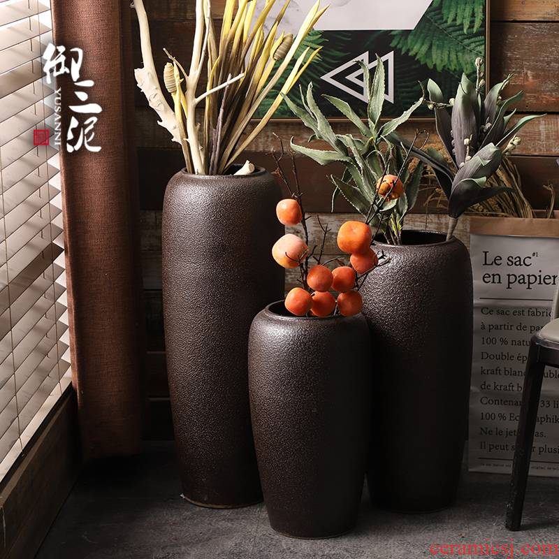 The Big vase high landing back on dry flower POTS to I and contracted sitting room flower arranging furnishing articles household jingdezhen ceramics