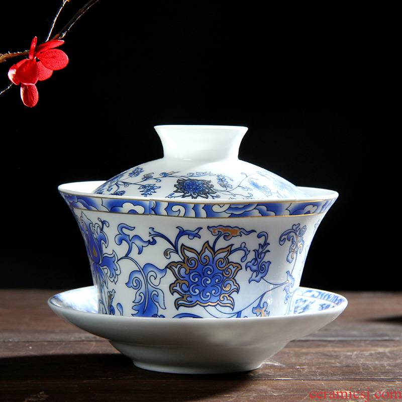 250 ml warm harbor large blue and white porcelain tureen jingdezhen ceramic tea three of the bowl bowl to bowl