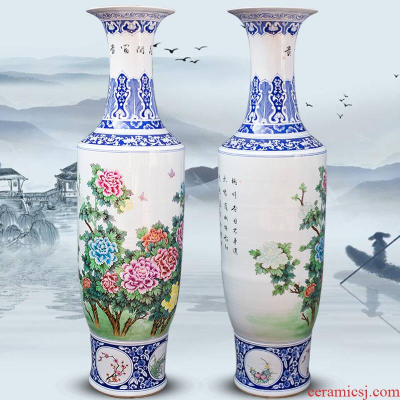 Blue and white porcelain of jingdezhen ceramics manual hand - made peony of large vases, Chinese style living room decoration villa furnishing articles