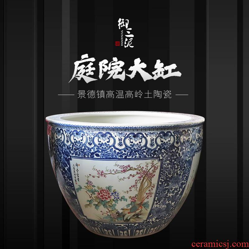 Jingdezhen to heavy cylinder large Chinese ceramic cornucopia sitting room aquarium raise the lotus pond lily cylinder blue and white pattern