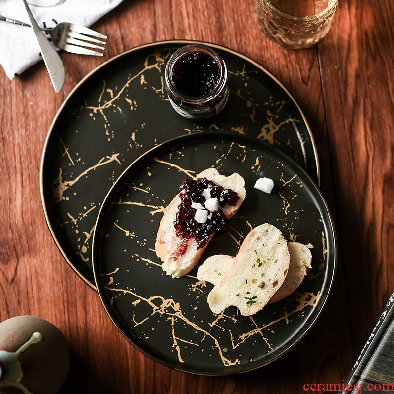 Tao soft Nordic plates marble plate steak western food web celebrity home food dish tray plates dessert plates
