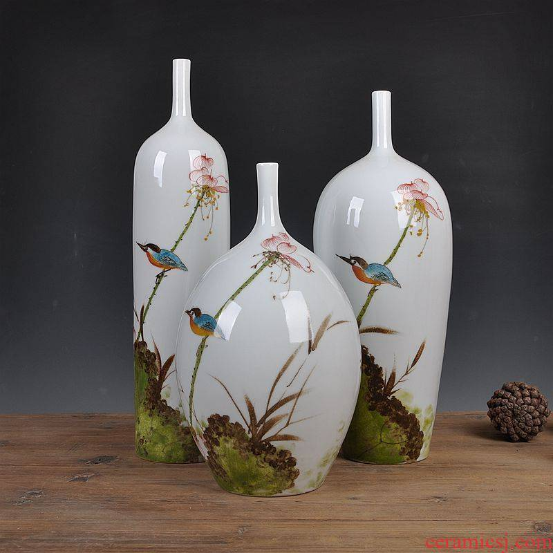 Jingdezhen ceramics new Chinese hand - made crane bird three - piece home furnishing articles sitting room decoration decoration arts and crafts