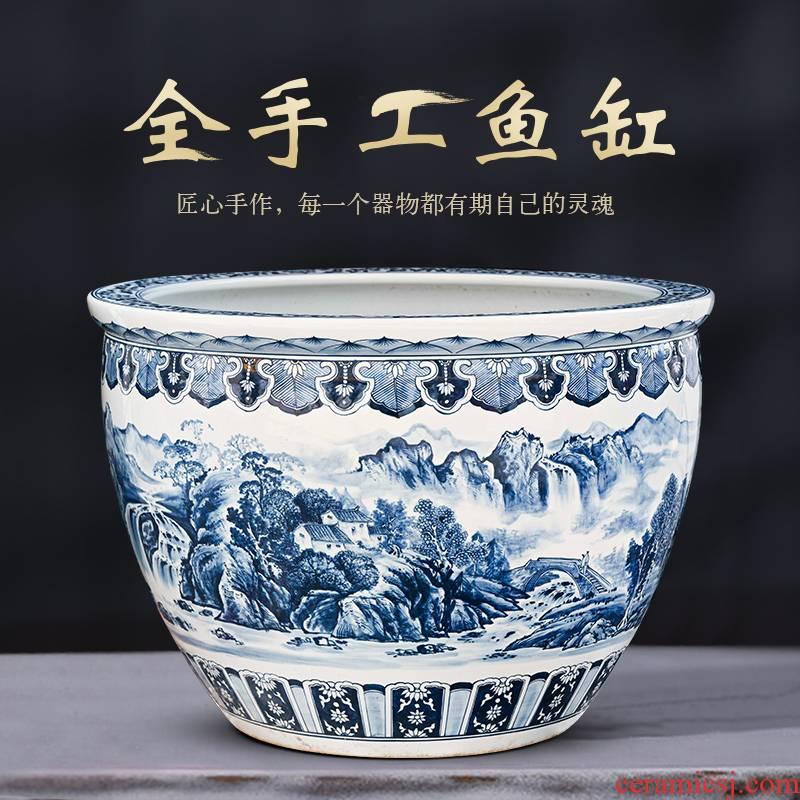Packages mailed jingdezhen ceramic tank 1 m extra large household porcelain jar goldfish bowl sitting room of large courtyard tortoise cylinder