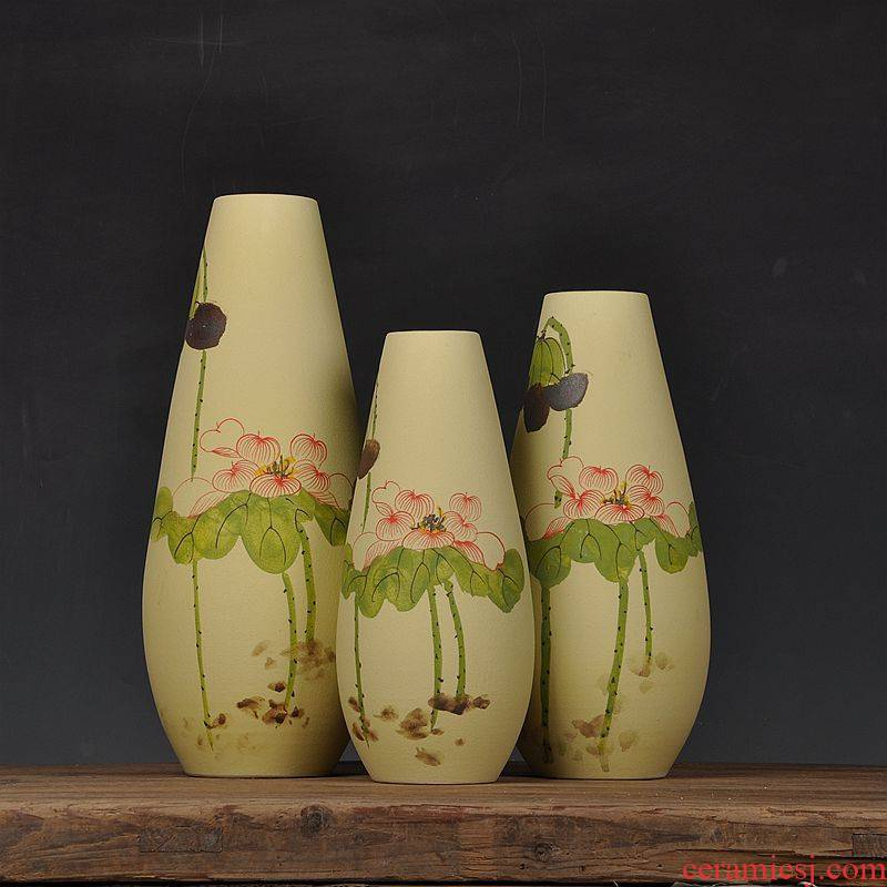 Scene, jingdezhen ceramic vase hand - made frosted three - piece handicraft furnishing articles home decoration decoration