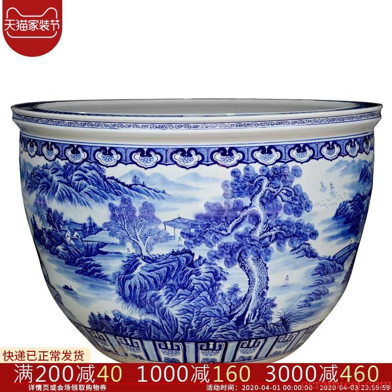 Cb26 large aquarium feng shui landing large hotel furnishing articles of jingdezhen ceramic fish bowl tortoise to heavy cylinder porcelain