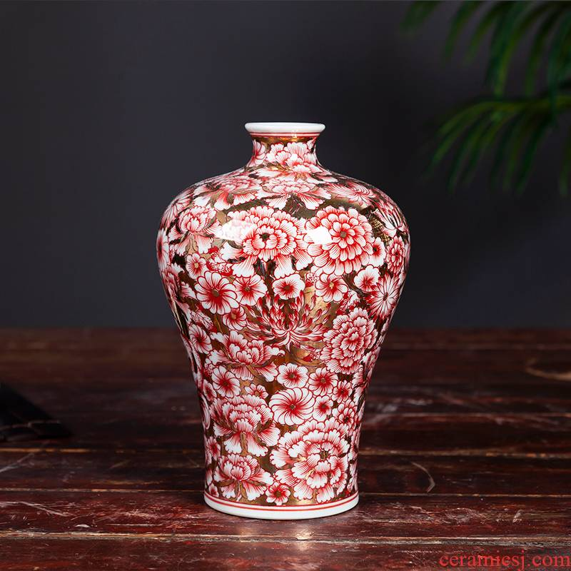 Jingdezhen ceramics vase flower, mei flower arranging bottles of antique Chinese style living room household adornment rich ancient frame furnishing articles