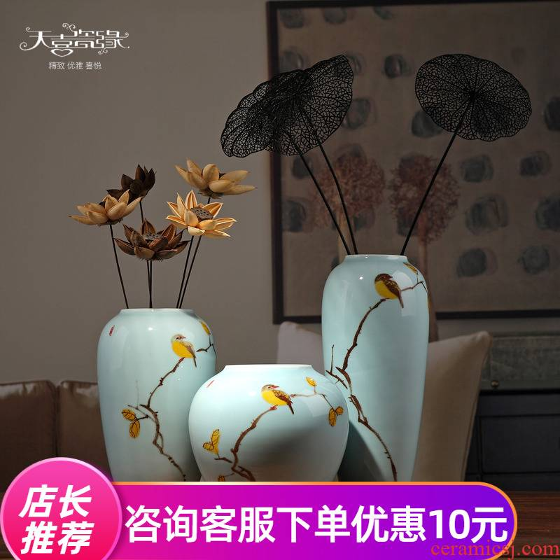 I and contracted new Chinese jingdezhen ceramic dry flower is placed living room TV cabinet vase household adornment flowers