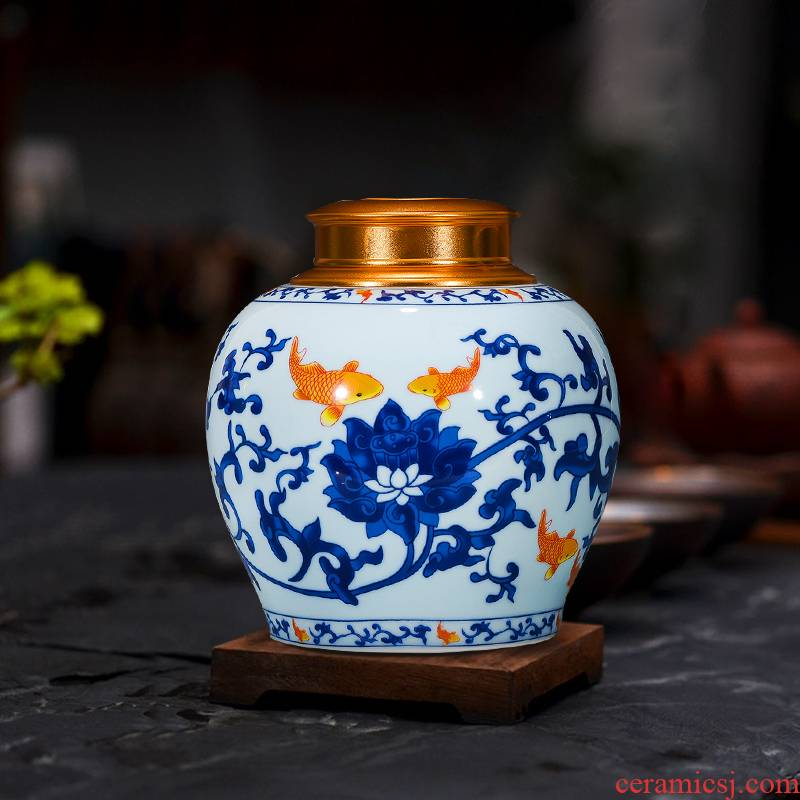 A kilo of jingdezhen ceramics with caddy fixings alloy cover seal storage tank of household of Chinese style tea POTS, large