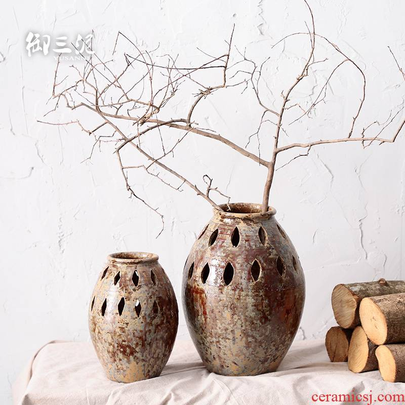 Flowerpot porous permeability southeast wind jugs coarse pottery dried flower decoration vase furnishing articles gardening waterscape meaty plant