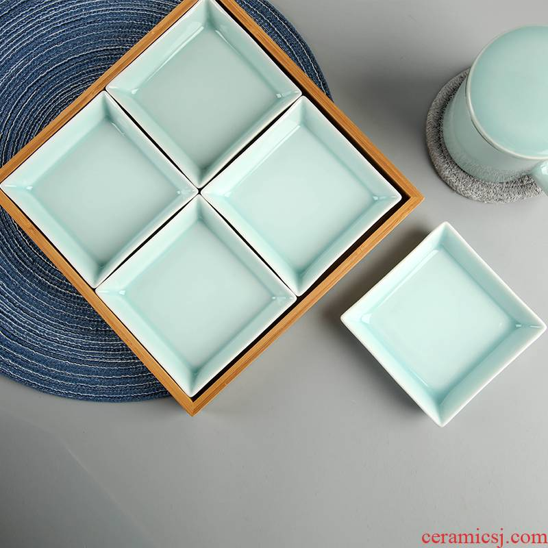 Longquan celadon square plate creative multiple disc ceramic plate frame Japanese fruit platter of dried fruit sushi plate