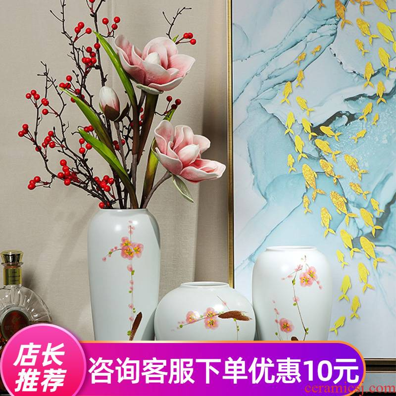 Jingdezhen dry flower flower vase of new Chinese style restoring ancient ways furnishing articles of TV ark of I sitting room porch wine decorations