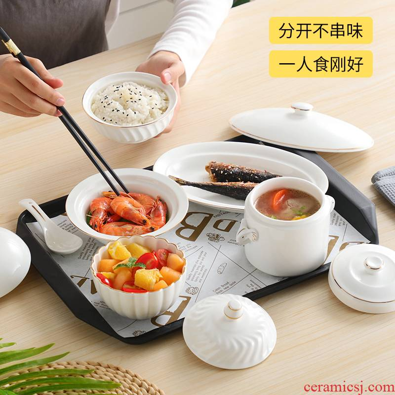 Ceramic confined center club cutlery set bowl of maternal home a stew soup bowl with cover health confined tableware