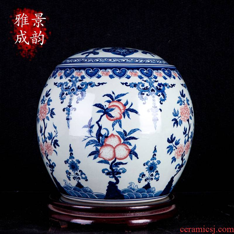 Jingdezhen ceramic youligong peach storage canister to place to live in the sitting room porch decoration