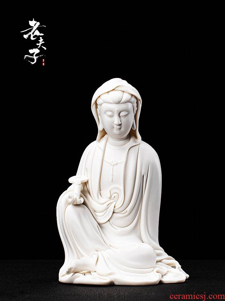 Dehua biscuit firing guanyin ceramic Buddha zen porch place cloak that occupy the home sitting room to be safe