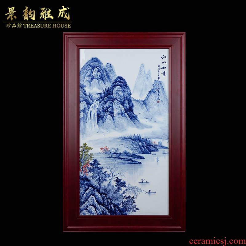 The New Chinese blue and white porcelain of jingdezhen ceramics jiangshan picturesque porcelain plate painting the living room sofa setting wall decoration