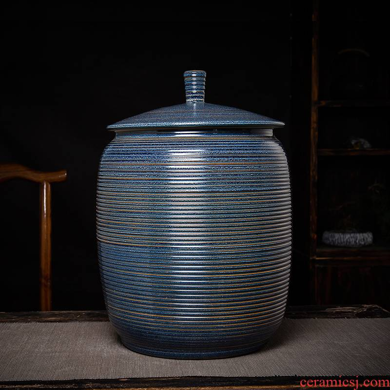 Jingdezhen ceramic sealed up the receive storage tank azure spiral caddy fixings domestic large capacity of moisture