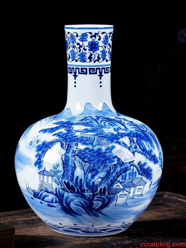 High hand made white mud of jingdezhen blue and white porcelain vase ceramics furnishing articles of Chinese style home decoration rich ancient frame sitting room