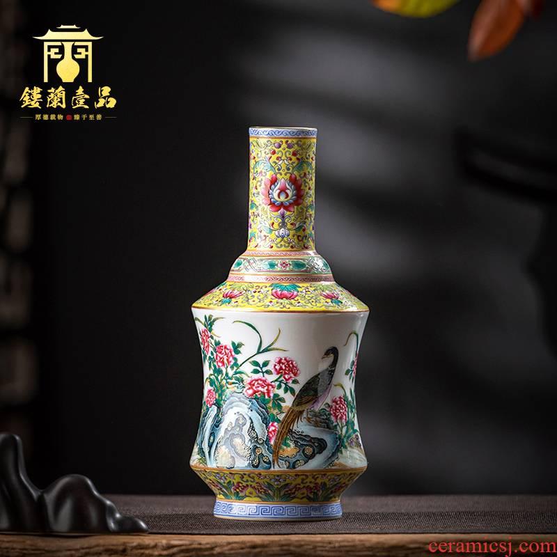 Jingdezhen ceramic all hand colored enamel peony golden pheasant floret bottle home tea tea pet collection flower vase
