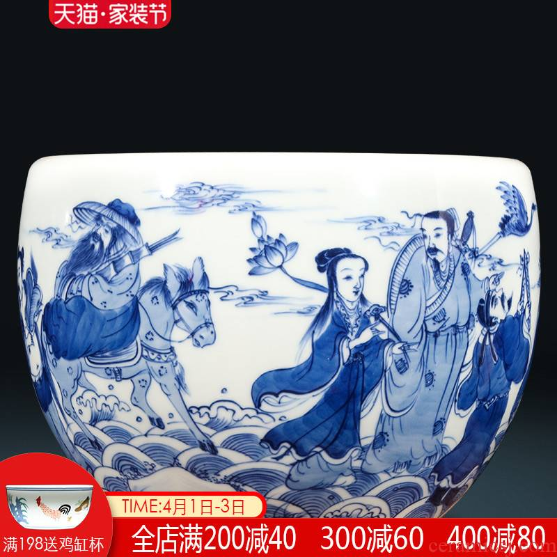 Jingdezhen ceramics hand - made antique blue - and - white sea writing brush washer from small cylinder sitting room home furnishing articles