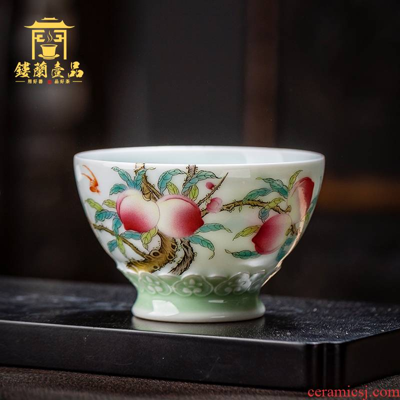 Jingdezhen ceramic all hand pastel peach branches about nine live carving master cup kung fu tea tea cup