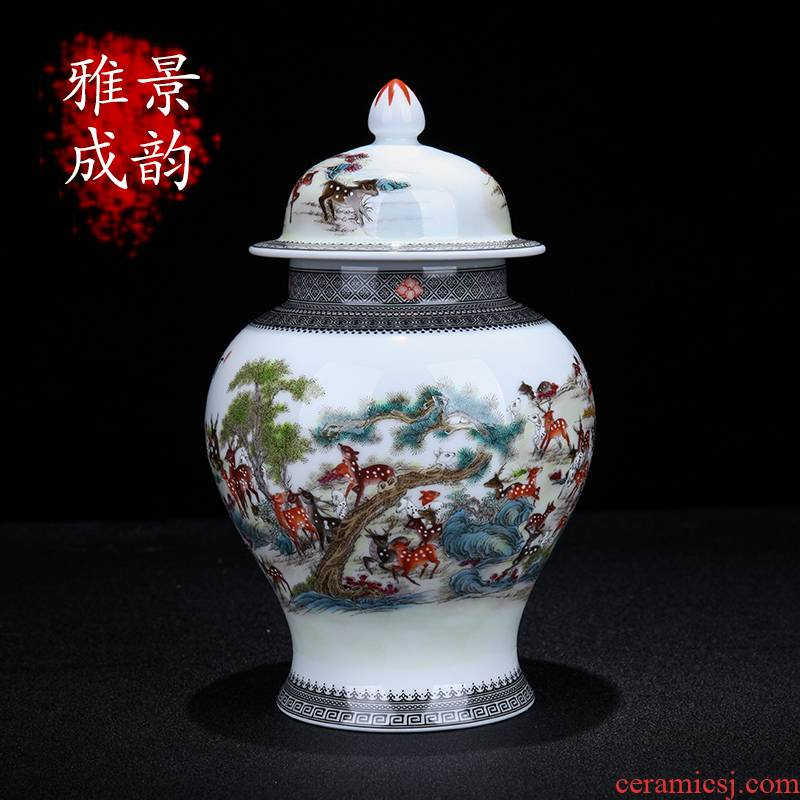 Jingdezhen ceramic new Chinese style best deer statute of general canned act the role ofing is tasted furnishing articles home sitting room porch porcelain decoration
