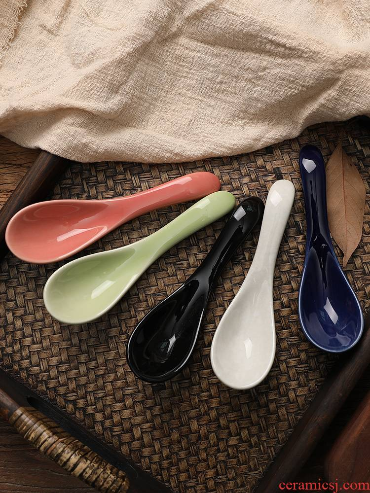 Japanese and wind spoon, spoon, spoon, ladle creative household ceramics tableware portable small spoon to eat sweet