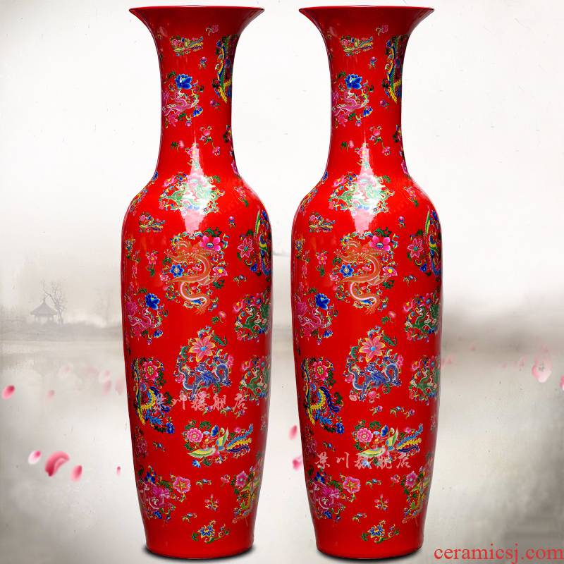 Jingdezhen ceramic Chinese red in extremely good fortune of large vases, flower arrangement home sitting room hotel office furnishing articles