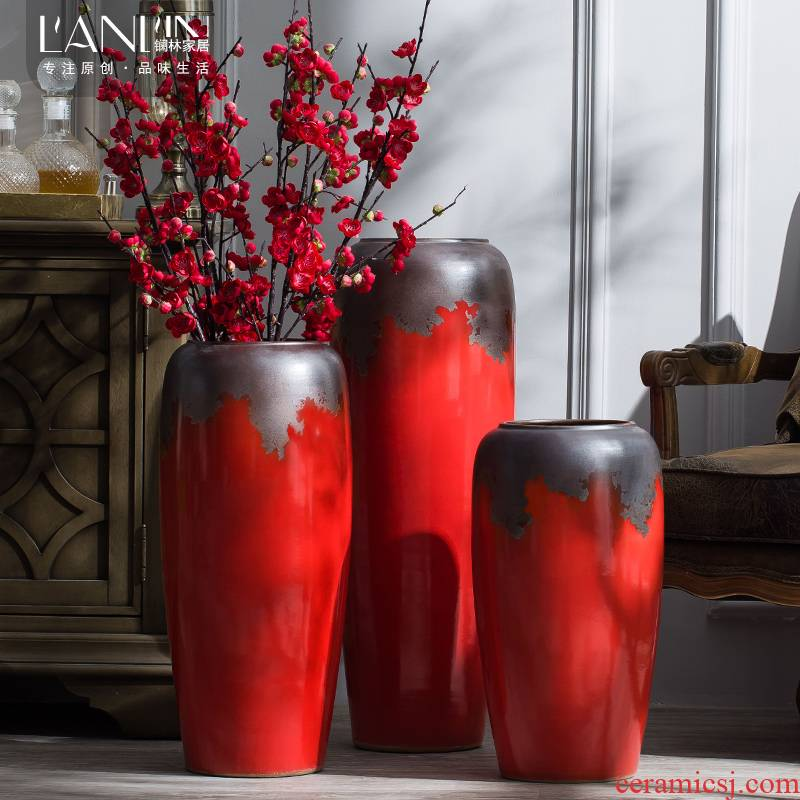 Jingdezhen ceramic furnishing articles of large Chinese style Chinese red porcelain vase sitting room porch flower arranging dried flower decorations