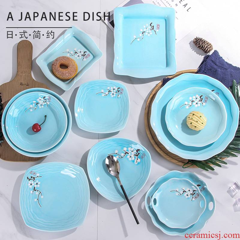 Ceramic plate household irregular circular deep dish creative dishes microwave Japanese - style tableware move soup dish plate