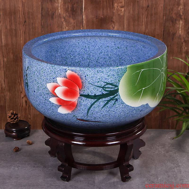 Jingdezhen ceramic aquarium large basin of blue and white sleep keep goldfish bowl lotus lotus tortoise GangPen furnishing articles in the living room