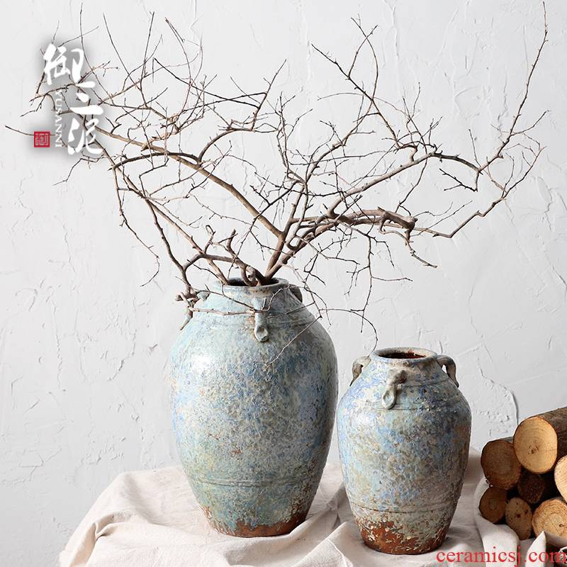 Jingdezhen zen Japanese home stay facility manual coarse pottery restoring ancient ways is the dried flower vase meaty plant flower pot