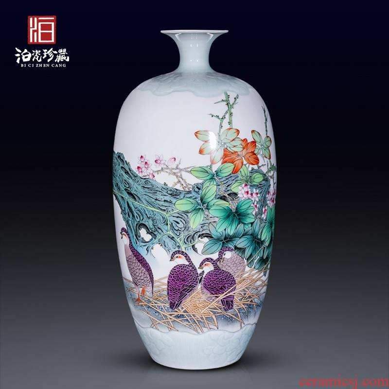 Jingdezhen ceramics hand - made enamel vase furnishing articles flower arranging large sitting room be born home collection adornment