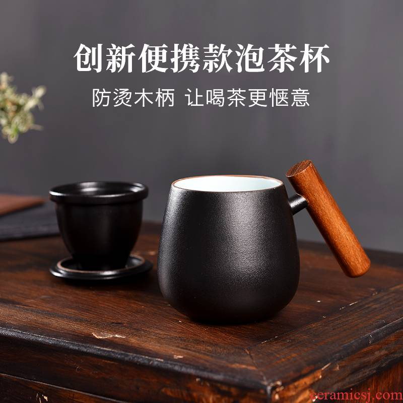Mud printing office getting out with the cover glass keller ceramic cups high - capacity Japanese custom creative move trend