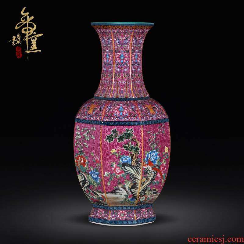 Archaize qianlong emperor up jingdezhen ceramics vase eight square bottle of powder enamel drama the qing decorative crafts