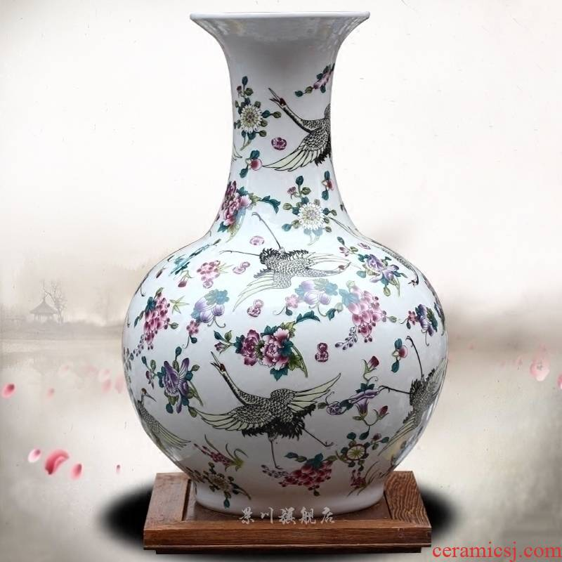 Jingdezhen ceramic best crane figure dry flower vase large home sitting room mesa office furnishing articles home decorations