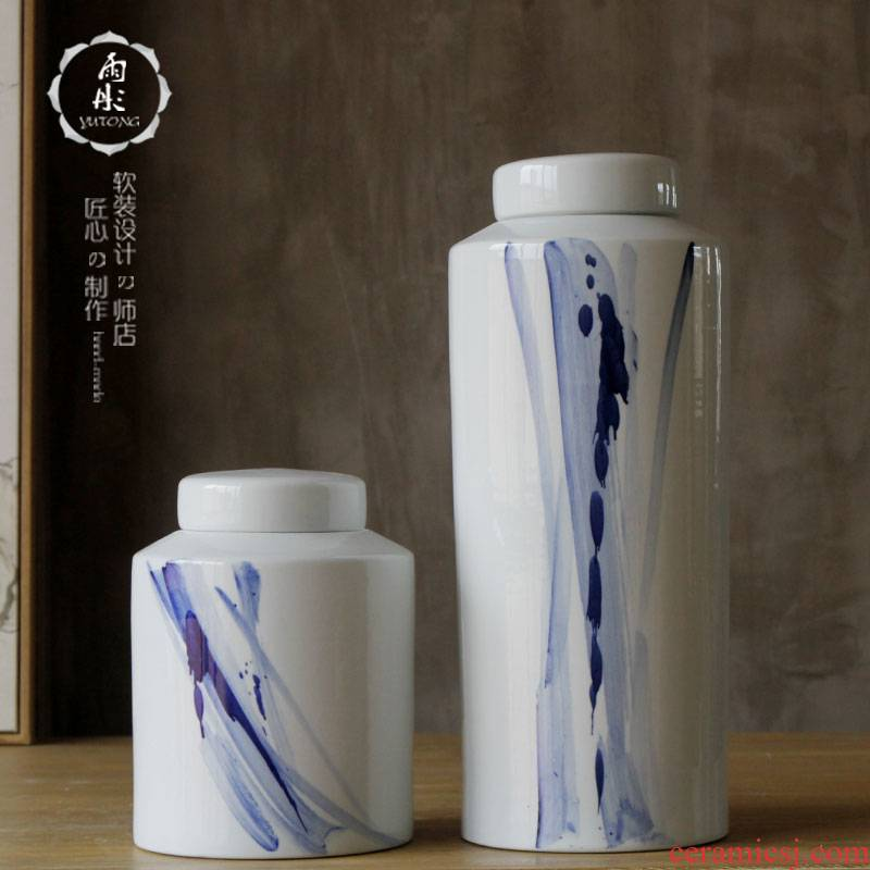 Rain tong home | hand draw freehand brushwork in traditional Chinese modern blue and white porcelain decoration household ceramics canister to furnishing articles example room decoration
