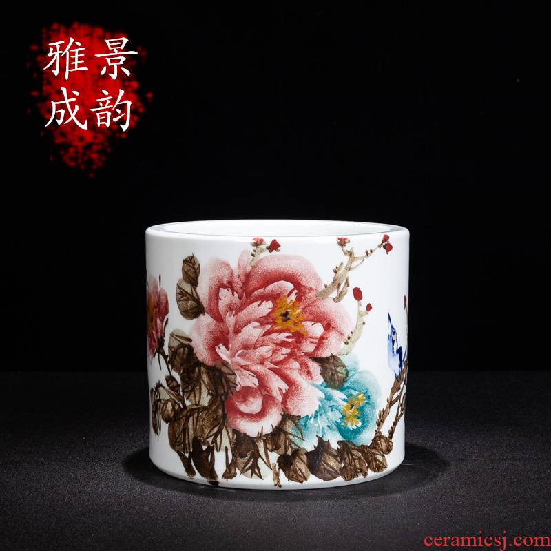 Jingdezhen ceramic I and contracted hand - made figure of riches and brush pot porcelain furnishings decorative furnishing articles sitting room study