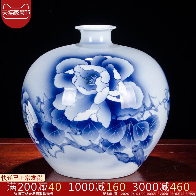 Jingdezhen ceramics pomegranate bottle antique hand - made of blue and white porcelain vases, flower arranging new Chinese style living room decorations furnishing articles