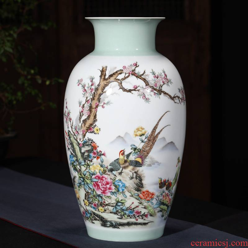 Jingdezhen ceramic vase furnishing articles sitting room flower arranging famous famille rose porcelain TV ark, of Chinese style household ornaments
