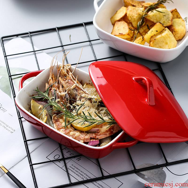 Japanese rectangle ceramic baking dribbling cover household ears cheese baked FanPan bowl bowl of baking oven, microwave oven
