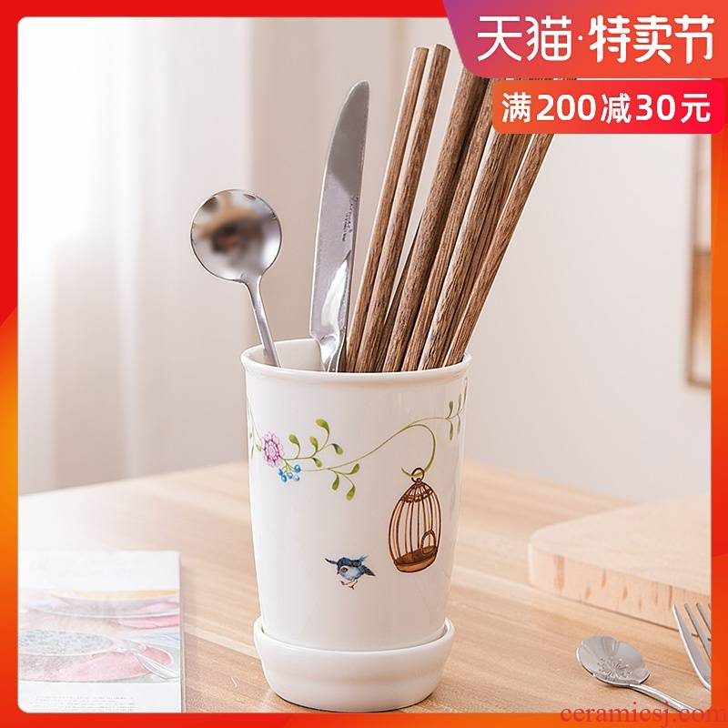 The Rural wind chopsticks tube of household kitchen receive a case chopsticks chopsticks tube drop box ceramic chopsticks box chopsticks barrels of chopsticks