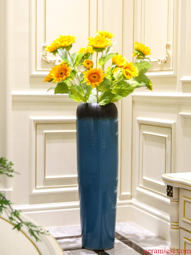 Jingdezhen ceramic vase Nordic high I and contracted style, landing simulation dried flowers flower arrangement sitting room adornment is placed