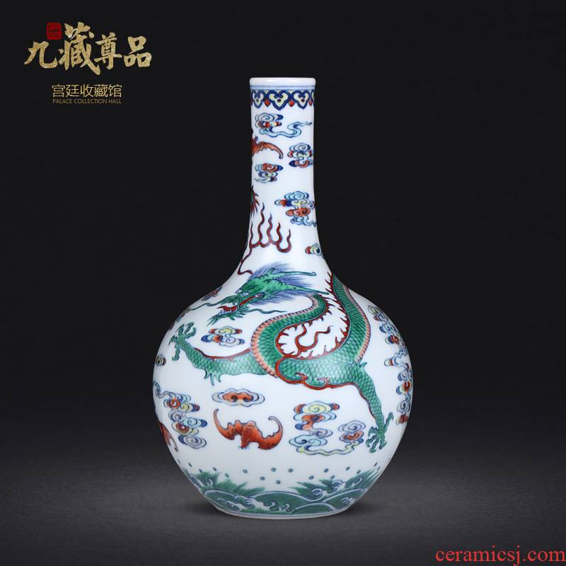 Blue and white dragon grain fights bile flower vase xiangyun bat flower arranging furnishing articles archaize porcelain jingdezhen pure manual
