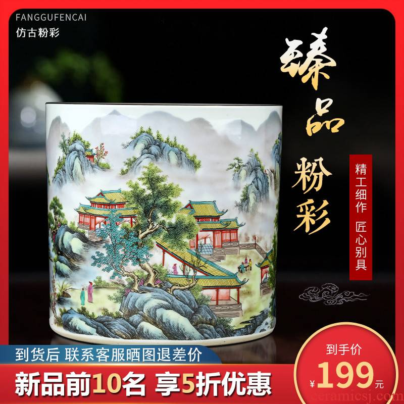 Jingdezhen ceramics antique vase pastel furnishing articles of Chinese style adornment home office desktop painting and calligraphy quiver