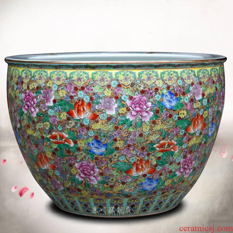 Jingdezhen ceramics hand - made pastel lotus goldfish bowl furnishing articles and calligraphy word rolls receive the tortoise cylinder tank