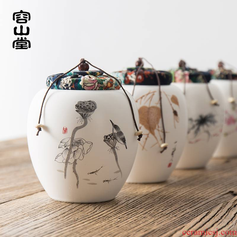 RongShan hall coarse pottery ceramic large black tea caddy fixings puer tea box of small box seal pot lawsuits